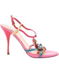 ea0af9abf6819 Lyst - Miu Miu Suede T-strap Bow Sandals in Blue
