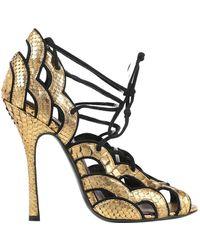 Tom Ford Gold Python Heels - Metallic