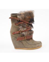 Maje Khaki Velvet Ankle Boots JxdJZp4F1