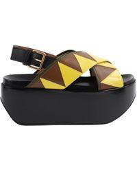 fe76f632299 Lyst - Marni Metallic Leather Platform Wedge Sandals in Metallic