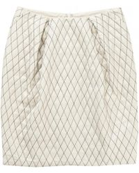 Zac Posen - Ecru Silk Skirt - Lyst
