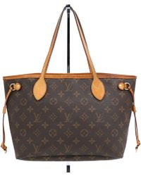 6869d2099ec8 Louis Vuitton - Neverfull Brown Cloth Handbag - Lyst