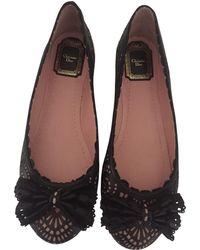 Dior - Black Leather Ballet Flats - Lyst