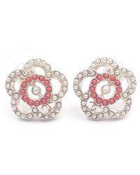 Chanel - White Metal Earrings - Lyst