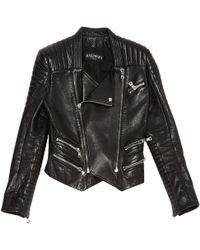 Balmain - Black Leather Jacket - Lyst
