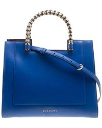 BVLGARI - Blue Leather Handbag - Lyst