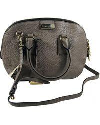 Burberry - Grey Leather Handbag - Lyst