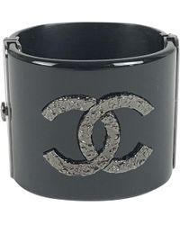 Chanel - Black Plastic Bracelet - Lyst