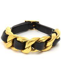 Chanel - Vintage Black Metal Bracelets - Lyst