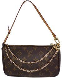 Louis Vuitton - Vintage Pochette Accessoire Brown Cloth Clutch Bag - Lyst