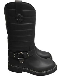 Chanel | Leather Biker Boots | Lyst