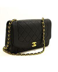 ccdfff9edd49 Chanel - Pre-owned Vintage Diana Black Leather Handbags - Lyst