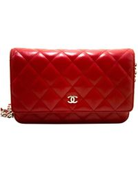 4518d21ff89a Chanel Wallet On Chain Patent Leather Clutch Bag in Red - Lyst