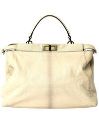 Fendi Ecru Leather Handbag - Multicolour