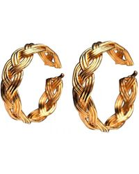Lanvin - Vintage Gold Metal Earrings - Lyst