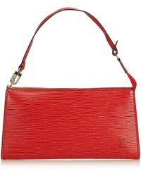 Louis Vuitton - Pre-owned Vintage Pochette Accessoire Burgundy Leather Clutch Bags - Lyst
