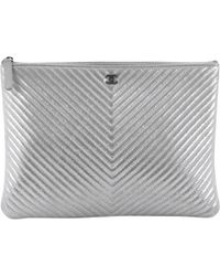 977da03c8d4e Lyst - Chanel Pre-owned Wallet On Chain Leather Clutch Bag in Blue