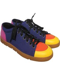 Loewe - Blue Leather Trainers - Lyst