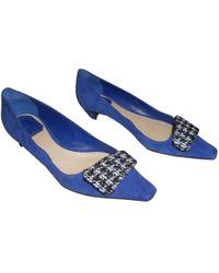Dior - Blue Suede Ballet Flats - Lyst