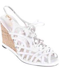 Stuart Weitzman - White Leather Sandals - Lyst