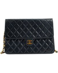 Chanel - Timeless/classique Navy Leather Handbag - Lyst