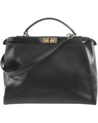 Fendi - Peekaboo Black Leather Handbag - Lyst
