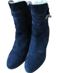 Hermès - Pre-owned Navy Suede Ankle Boots - Lyst
