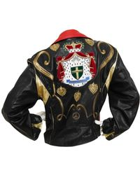 Moschino - Vintage Black Leather Leather Jacket - Lyst