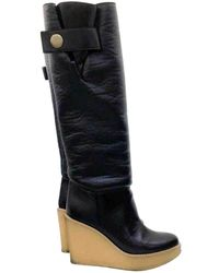 586040eec59 Stella McCartney Faux Suede Wedge Knee Boots in Gray - Lyst