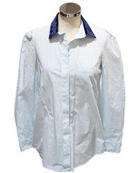 34f822b3a75b Lyst - Louis Vuitton White Cotton Monogram Button Up Long Sleeve ...