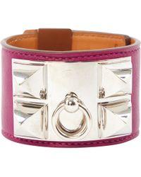 Hermès - Collier De Chien Purple Leather Bracelets - Lyst