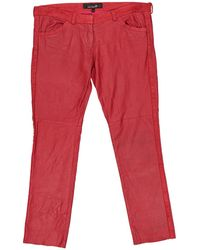 Isabel Marant - Pre-owned Red Leather Trousers - Lyst