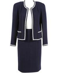 Chanel - Vintage Blue Wool Jacket - Lyst