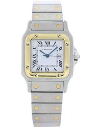 Cartier - Santos Galbée Silver Gold And Steel Watches - Lyst 8821bbdf6e476