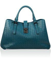 Bottega Veneta Prusse Intrecciato Light Calf Roma Bag in Blue - Lyst c4873c6c695a6