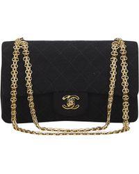 Chanel - Pre-owned Vintage Timeless/classique Black Cotton Handbags - Lyst