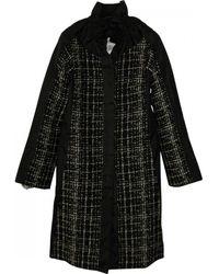Céline - Black Wool Coat - Lyst