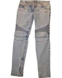 Balmain - Blue Cotton Jeans - Lyst