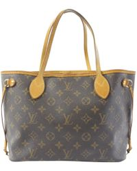 6b8f00583b6d Louis Vuitton - Neverfull Brown Cloth Handbag - Lyst