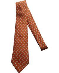 Hermès - Pre-owned Orange Silk Tie - Lyst