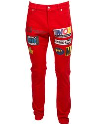 Moschino - Red Cotton - Elasthane Jeans - Lyst