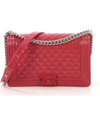 2976da97b700 Lyst - Chanel Reverso Boy Flap Bag Patent New Medium in Blue