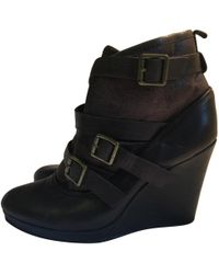 Maje - Pre-owned Leather Buckled Boots - Lyst