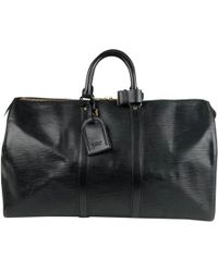 Louis Vuitton - Pre-owned Keepall Black Leather Bags - Lyst