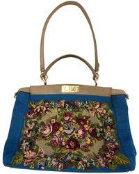 09767c0775 Fendi - Peekaboo Blue Wool Handbag - Lyst