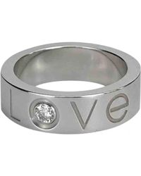 Cartier - Vintage Love Silver White Gold Ring - Lyst