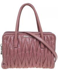 5cd97f2d11a3 Miu Miu - Matelassé Pink Leather Handbag - Lyst