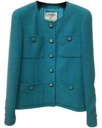Chanel - Pre-owned Vintage Turquoise Wool Jacket - Lyst
