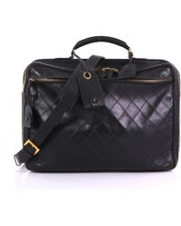 Chanel - Pre-owned Vintage Black Leather Travel Bags - Lyst