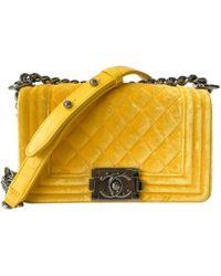 25d9bb7215b2 Chanel Pre-owned Boy Velvet Handbag in Blue - Lyst
